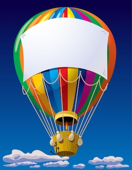 Air balloon with a banner in the sky
