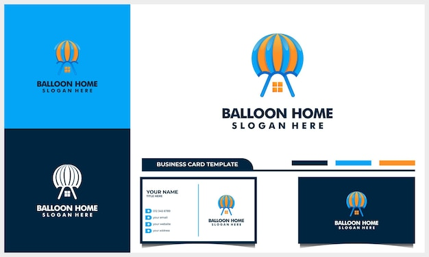 Air balloon with house or home icon logo design and business card template