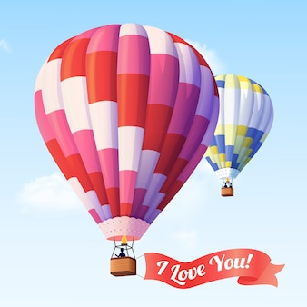 Air balloon with ribbon