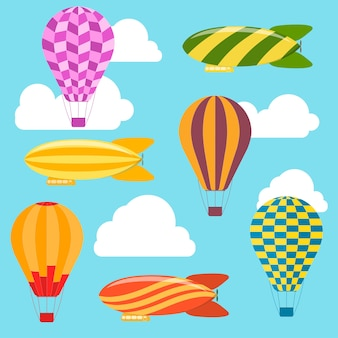 Air balloons and airships background.