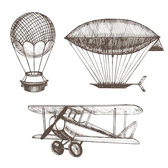 気球と飛行船の手描きのスケッチ。ヴィンテージスタイルのデザインを輸送します。