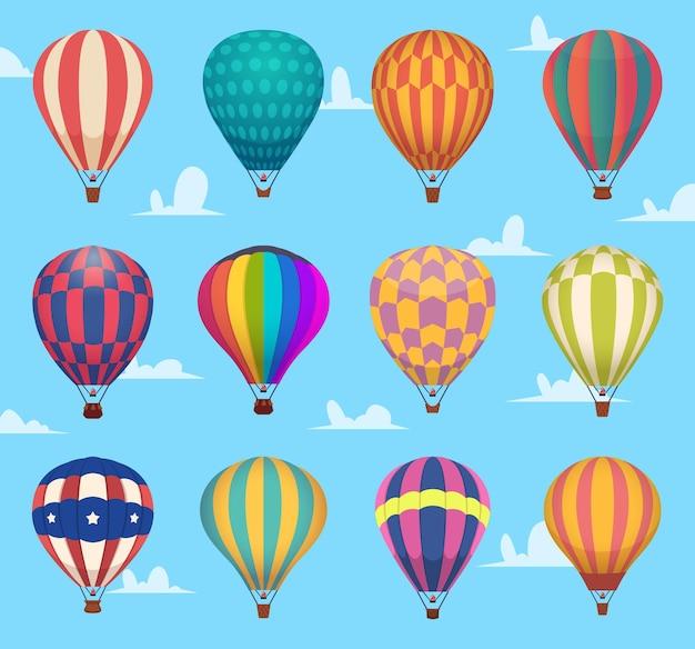 공기 풍선. 축제 낭만적 인 비행 야외 뜨거운 공기 풍선 항공기 수송 만화 세트. 컬렉션 뜨거운 공기 풍선 비행, 탐사 및 여행 그림