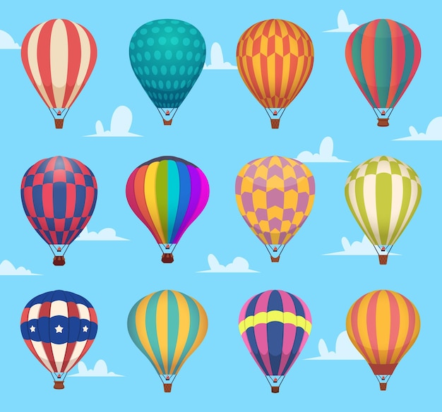 Air balloons. festival romantic flight outdoor hot air balloons aircraft transport cartoon set. collection hot air balloons flying, exploration and journey illustration