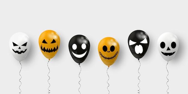 Air balloons for halloween. happy halloween banner.