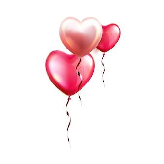 リボンベクトルとハート形の気球。愛のシンボルの形でヘリウム膨らませた風船、バレンタインデーや誕生日パーティーの美しい贈り物を飛ばします。ロマンチックな装飾テンプレートリアルな3dイラスト