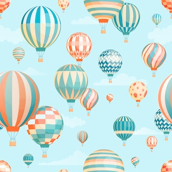 Air balloons in sky vector seamless pattern. flying aircrafts on blue background. aerial transportation. hot air ballooning, aerostat transport in flight wrapping paper, wallpaper textile design.