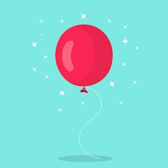 Воздушные шары, летящие с веревкой, изолированной на синем