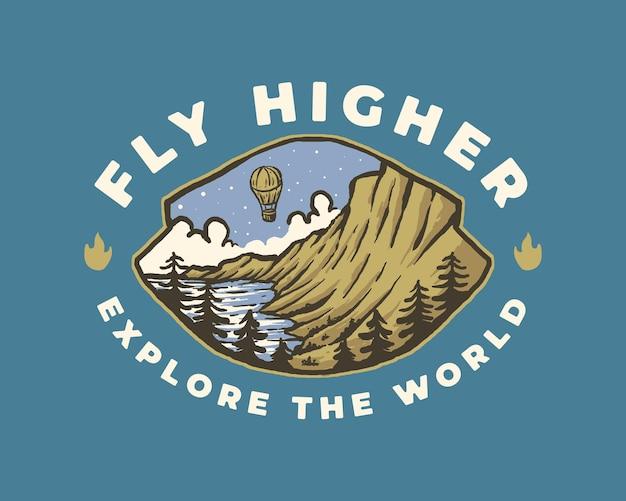 Air baloon fly higher vintage badge label illustration