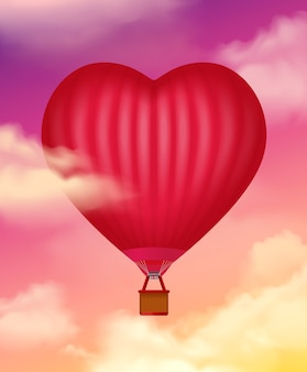 Air baloon in heart shape realistic  with clouds