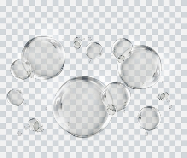 Air bubbles underwater, bubbles template isolated on transparent background
