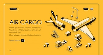 Air cargo logistics and freight delivery illustration in isometric black thin line on yellow