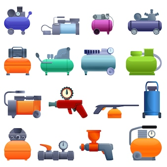 Air compressor icons set, cartoon style