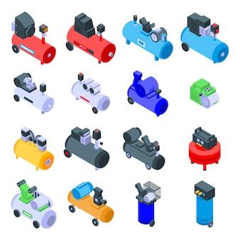 Air compressor icons set
