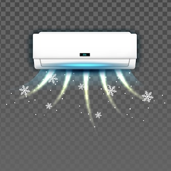 차가운 벡터로 날리는 에어컨 시스템. 방의 조건 시스템 냉각 온도 차단. 기후 전자 기술 장치 컨디셔너 템플릿 현실적인 3d 일러스트