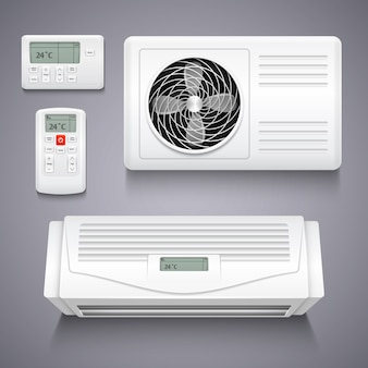 Air conditioner isolated realistic vector illustration. temperature air conditioner for home, electr