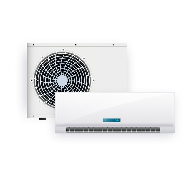 Air conditioner isolated on white photo-realistic Premium Vector