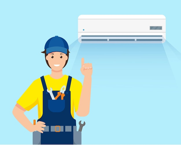 Air conditioner and repair man character in uniform for service