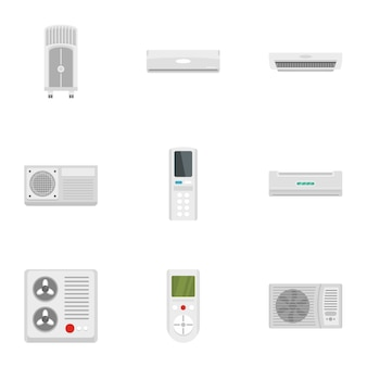 Air conditioner system icon set, flat style