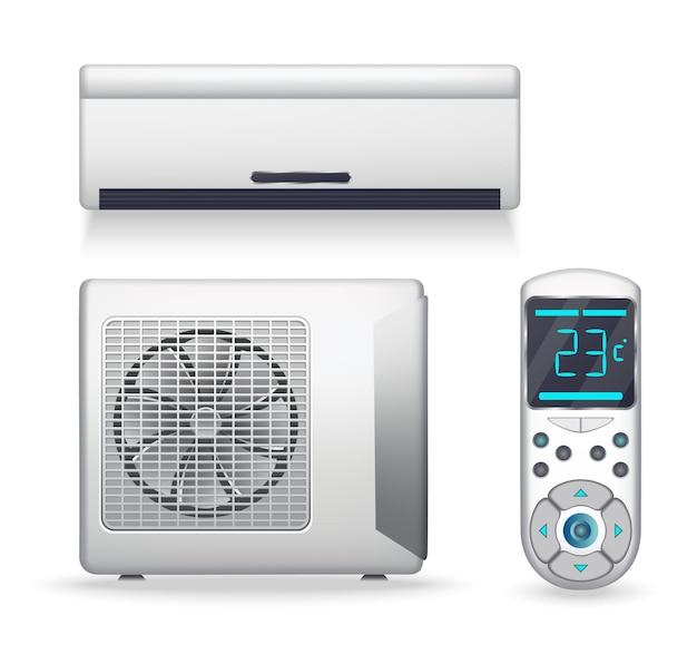 에어컨 시스템 - 냉방 또는 난방 장비가 있는 현실적인 세트. 공기를 정화하고 상쾌하게 하고 순환시키는 전자 제품 또는 장치. 실내 및 실외 장치에 색상을 지정하십시오. 흰색 바탕에 아이콘