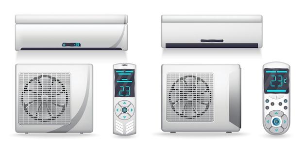 Система кондиционирования - реалистичный набор с охлаждающим или обогревательным оборудованием. электронный прибор или устройство для очистки, освежения и циркуляции воздуха. цветные внутренние и наружные блоки. значок на белом фоне