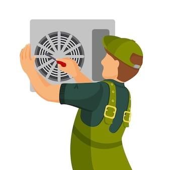 エアコンユニットの修理と設置のコンセプト。