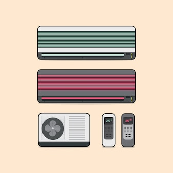 Air conditioner vector with remote