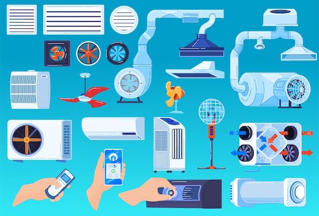 Набор иллюстраций системы вентиляции кондиционера, мультипликационная коллекция устройств кондиционирования или регулирования температуры