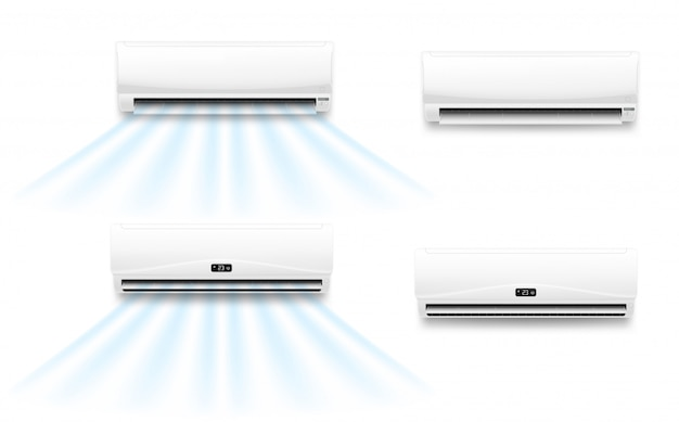 Air conditioner with cold or hot wind flow Premium Vector