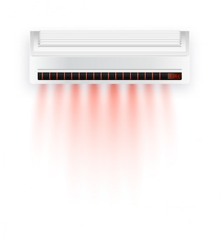 Air conditioner with hot air isolated. white air condition isolated on clear background in style. illustration about electric equipment in house.