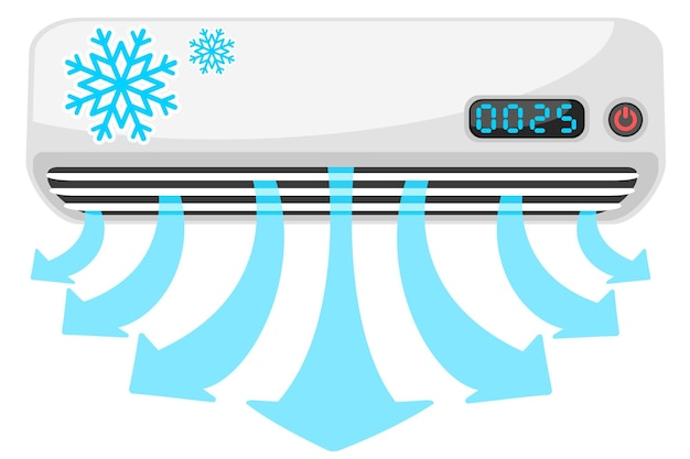 Air conditioner with a stream of cold air in the form of arrows