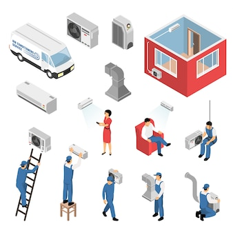 Air conditioners installation isometric set