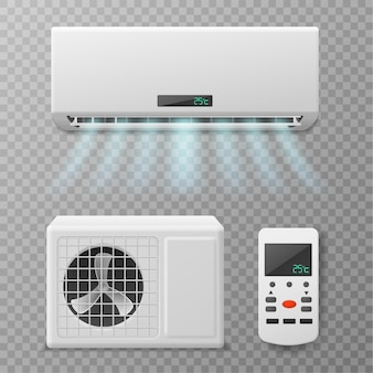 Air conditioning. realistic conditioner with remote controller, hot or cold blowing air. fresh airing flow in apartment, home or office, climate maintenance vector set
