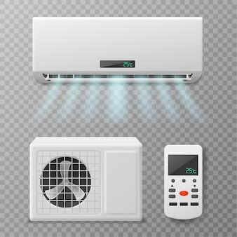空調。リモコン付きのリアルなコンディショナー、熱風または冷風を吹き付けます。アパート、家またはオフィス、気候維持ベクトルセットの新鮮な空気の流れ