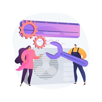 Air conditioning and refrigeration services abstract concept   illustration. installation, repair and maintenance of air conditioners, climate control systems equipment