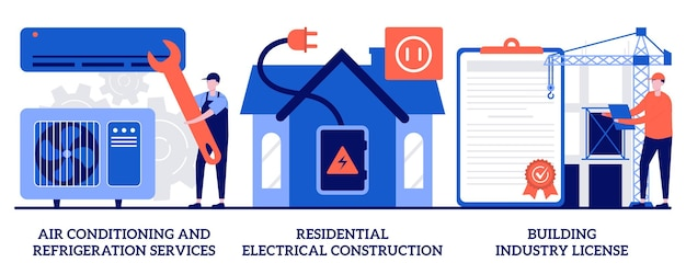 Air conditioning and refrigeration services, residential electrical construction, building industry license concept with tiny people. builder contractor services abstract vector illustration set.