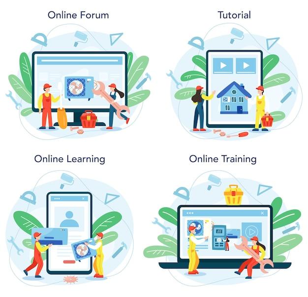 Сервис ремонта и монтажа кондиционеров онлайн сервис или комплект платформы. Premium векторы