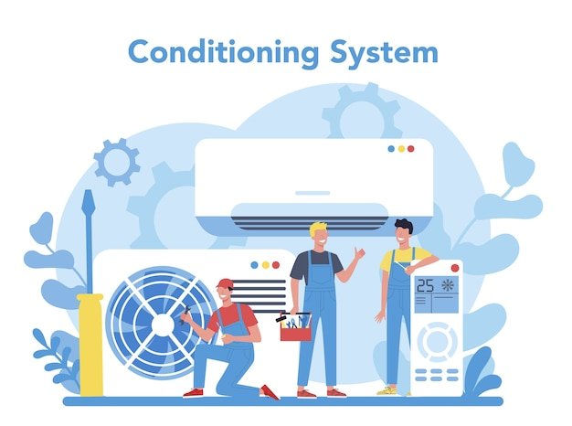 Air conditioning repair and instalation service concept. repairman installing, examining and repairing conditioner with special tools and equipment. isolated vector illustration
