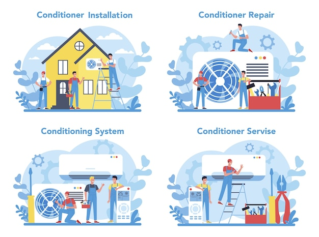 Air conditioning repair and instalation service concept set. repairman installing, examining and repairing conditioner with special tools and equipment.
