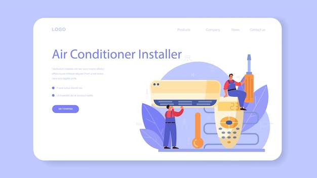 Air conditioning repair and instalation service web template or landing page.