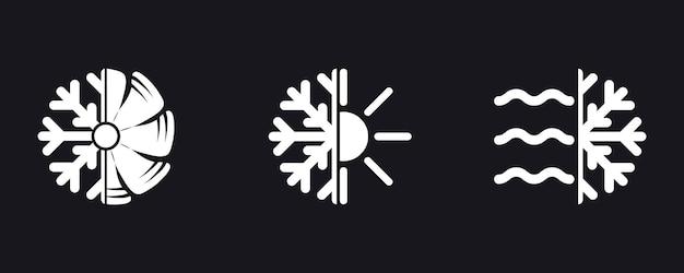 Символ кондиционирования воздуха. концепция климат-контроля, охлаждение дома, комфортное проживание. комплект значка вектора кондиционера. кондиционер на свежем воздухе