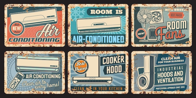 Air conditioning and ventilation rusty plates with vector air conditioners, cooker or kitchen exhaust hoods, room fans with remote control. climate control vintage tin plates and grunge signboards