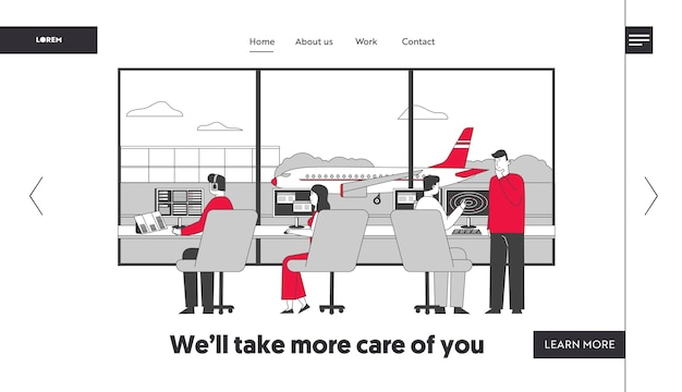 Air controller team working with plane on runway landing page template