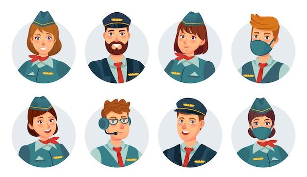 乗組員のアバター。航空会社のパイロット、船長、スチュワーデス、客室乗務員、航空機関士の丸いアイコン。マスクベクトルセットの空港スタッフ。制服、飛行サービスで笑顔の女性と男性