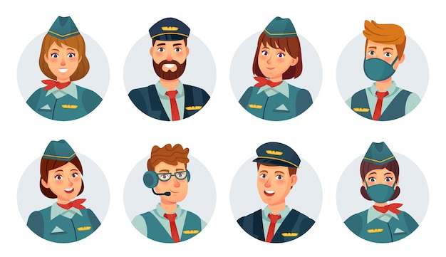 Air crew avatars. airline pilot, ship captain, stewardess, flying attendant and flight engineer round icon. airport staff in mask vector set. smiling woman and man in uniform, flying service