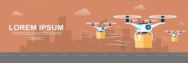 Air drone delivering parcel. supply service banner