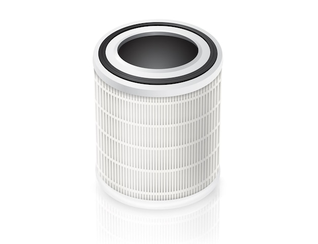 Air filter cylindrical spare parts isolated on white background