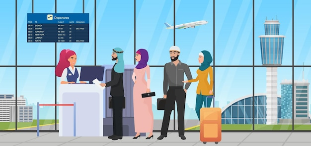 Air flight check queue with saudi arab people airline worker checking ticket at airport