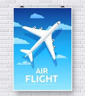 Air flight plane with house home illustration concept on brick wall background