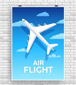 Самолет воздушного полета с концепцией иллюстрации дома дома на фоне кирпичной стены