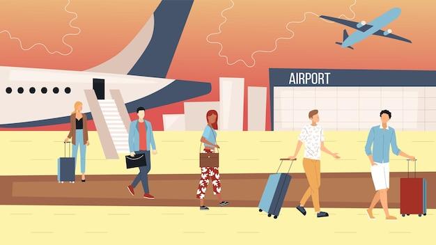 航空便のコンセプト。人々は飛行機を出て空港ターミナルに向かいます。荷物を持つビジネスマンや観光客のグループ。到着した飛行機の近くの男性と女性。漫画フラットベクトルイラスト。